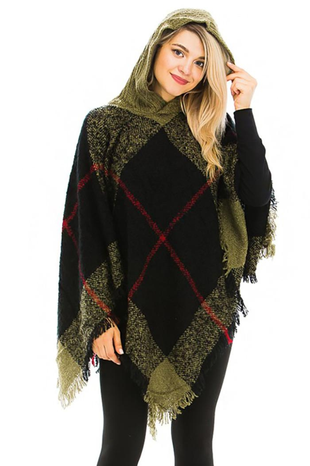 Nadya's Closet Plaid Pattern Thick Knitted With Hoodie Design Poncho - Front Cropped Image