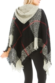 Nadya's Closet Plaid Pattern Thick Knitted With Hoodie Design Poncho - Front full body