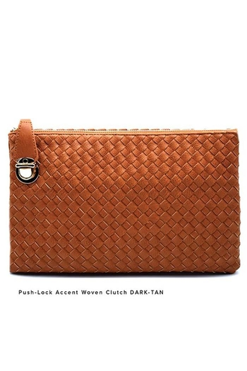 Nadya's Closet Push Lock Accent Woven Clutch from California — Shoptiques