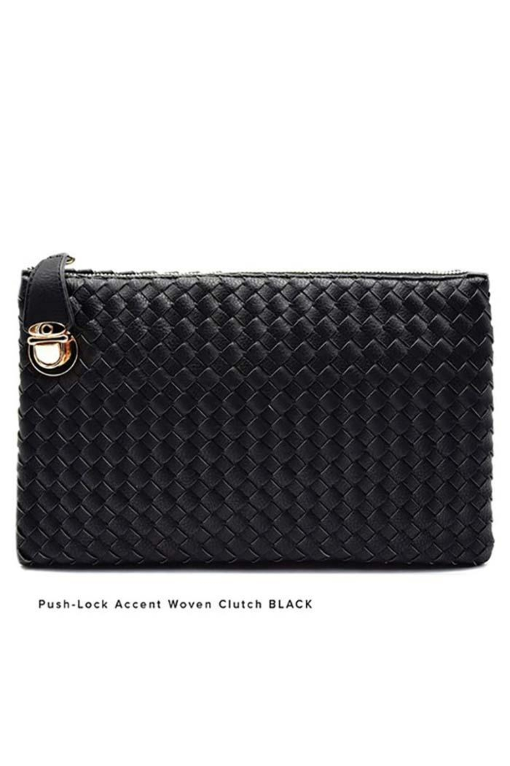 Nadya's Closet Push Lock Accent Woven Clutch - Front Cropped Image
