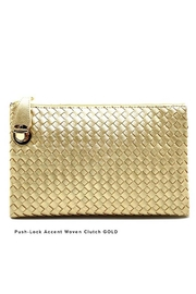 Nadya's Closet Push Lock Accent Woven Clutch - Front cropped
