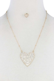 Nadya's Closet Rhinestone Heart Necklace - Front cropped