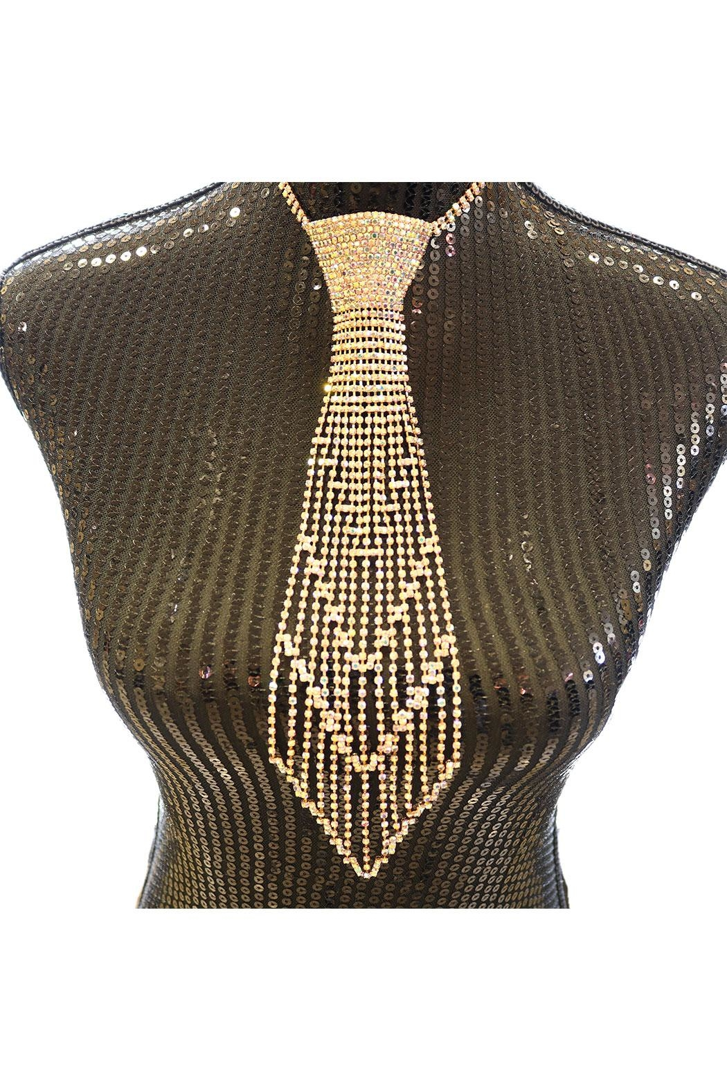 Nadya's Closet Rhinestone Tie Necklace - Front Cropped Image