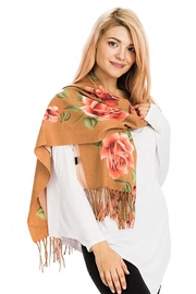 Nadya's Closet Rose Floral Fringed Scarf - Front full body