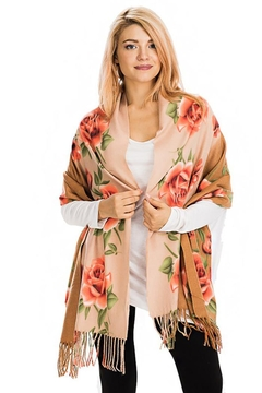 Nadya's Closet Rose Floral Fringed Scarf - Product List Image