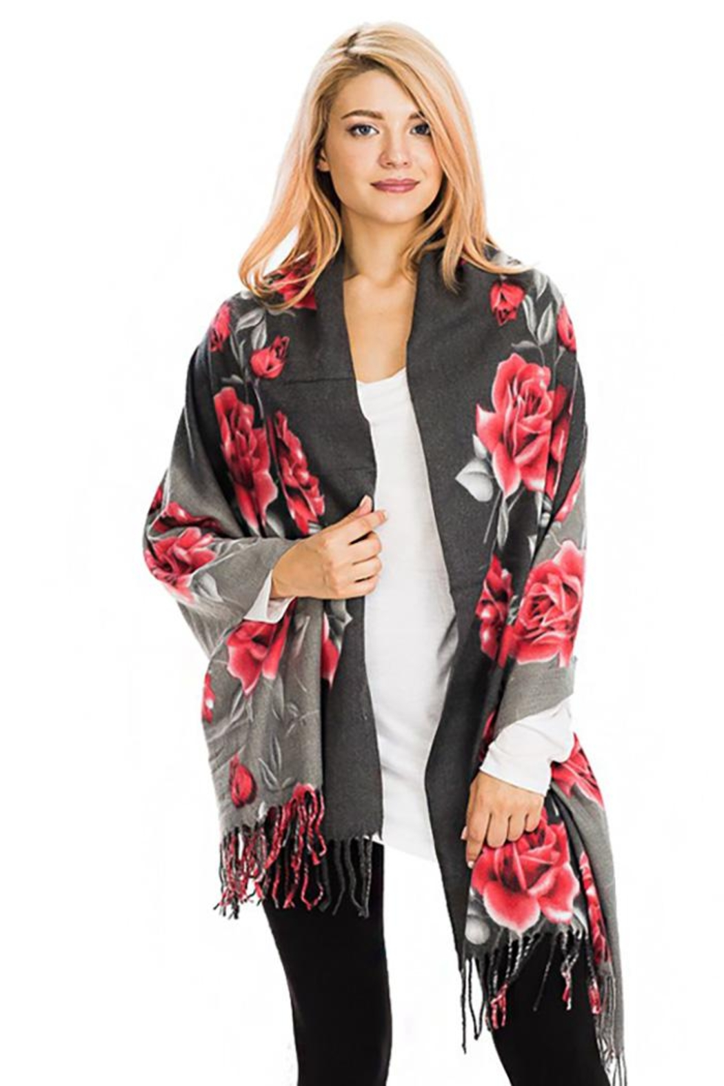Nadya's Closet Rose Floral Fringed Scarf - Front Cropped Image