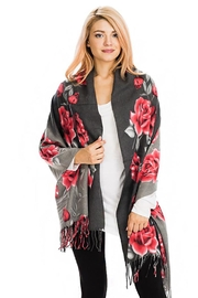 Nadya's Closet Rose Floral Fringed Scarf - Front cropped