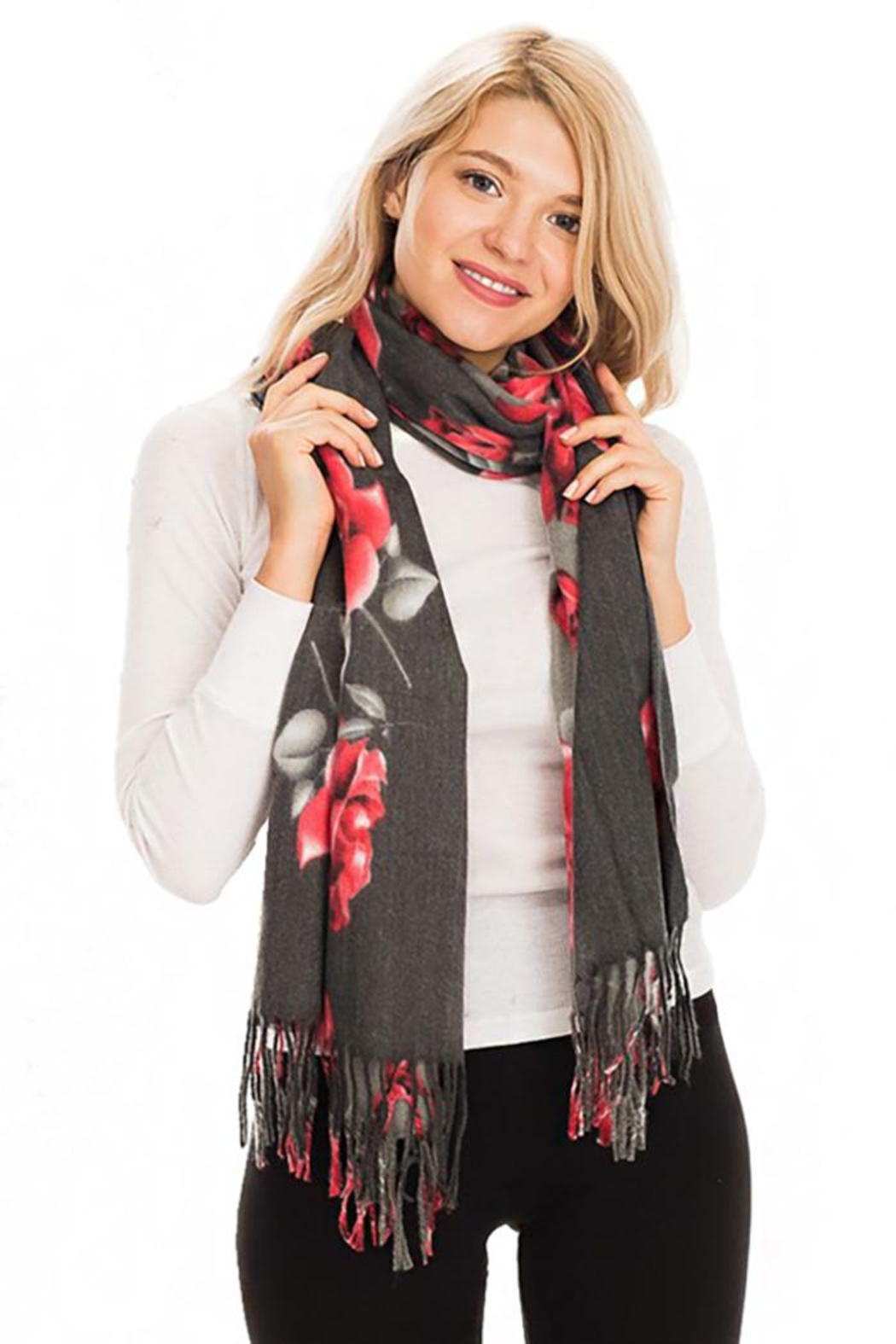 Nadya's Closet Rose Floral Fringed Scarf - Side Cropped Image