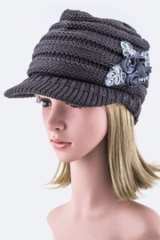 Nadya's Closet Sequins Flower Knit-Cap - Front cropped