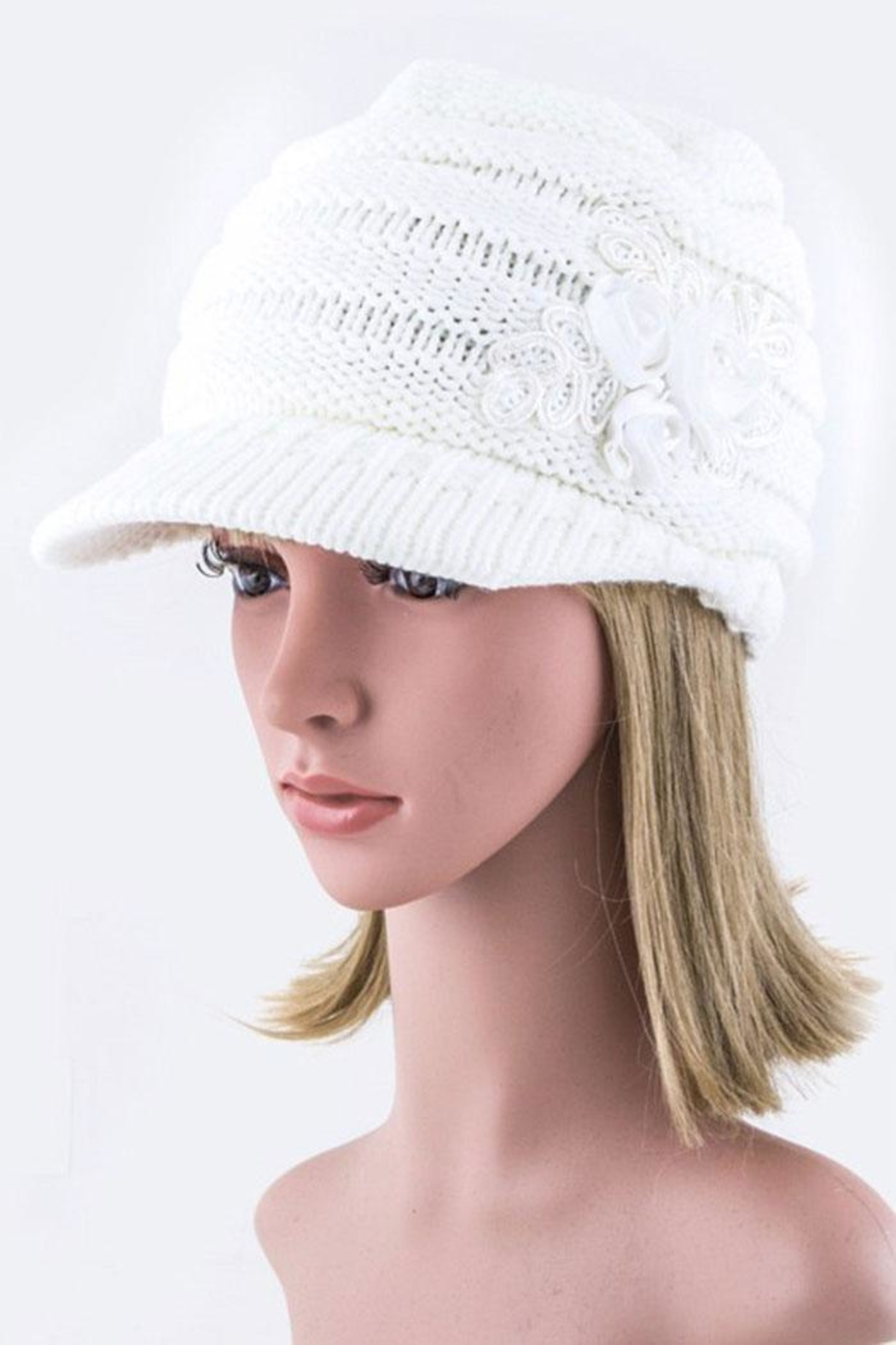 Nadya's Closet Sequins Flower Knit-Cap - Front Cropped Image