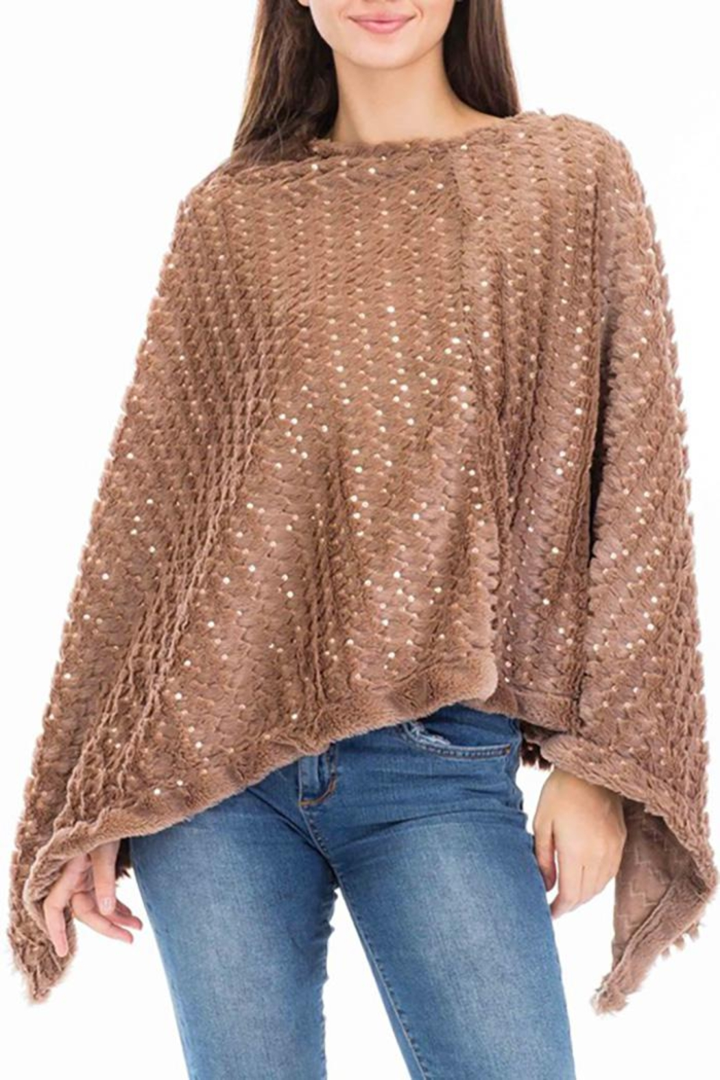 Nadya's Closet Shimmery Sequin Poncho - Front Cropped Image