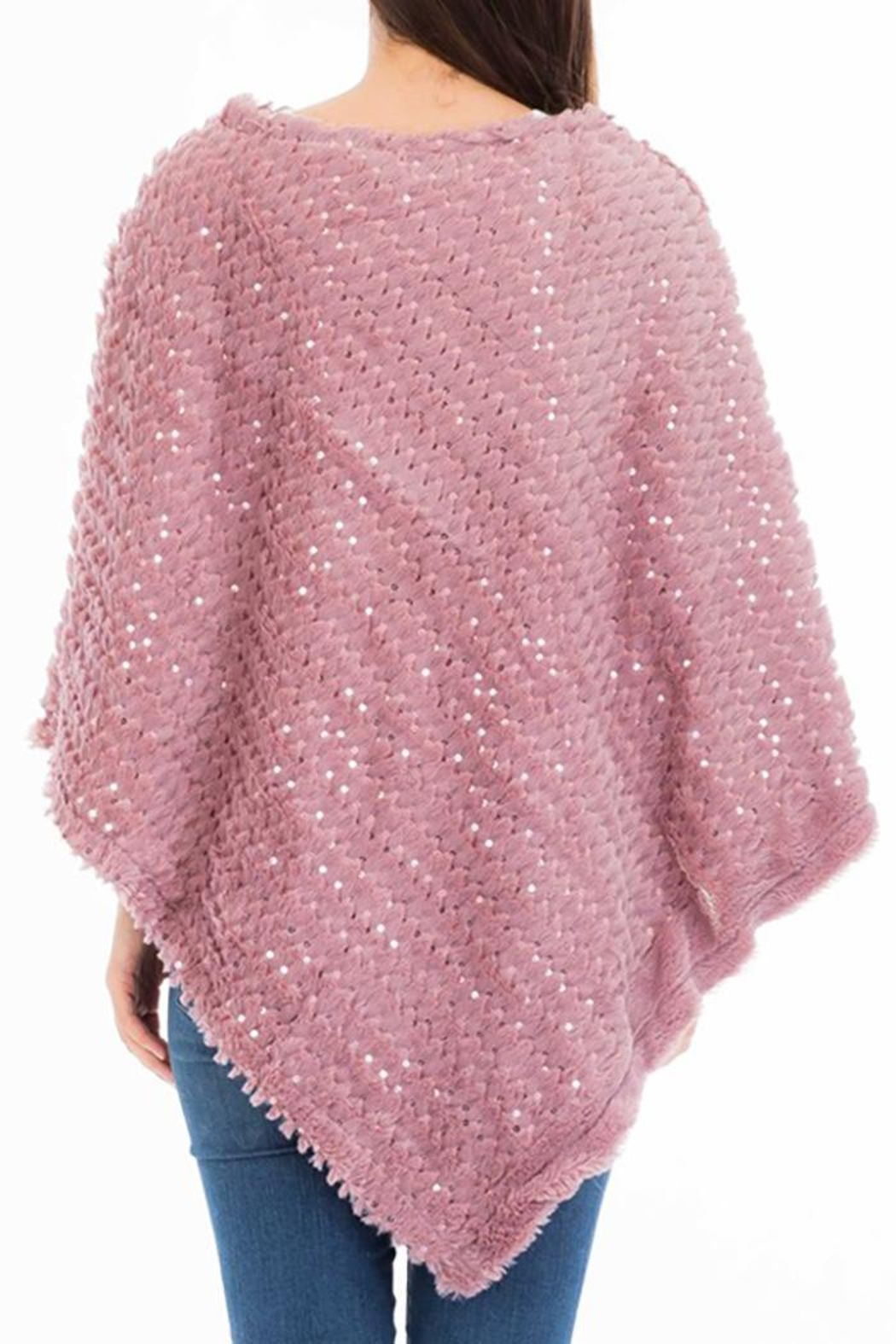 Nadya's Closet Shimmery Sequin Poncho - Back Cropped Image