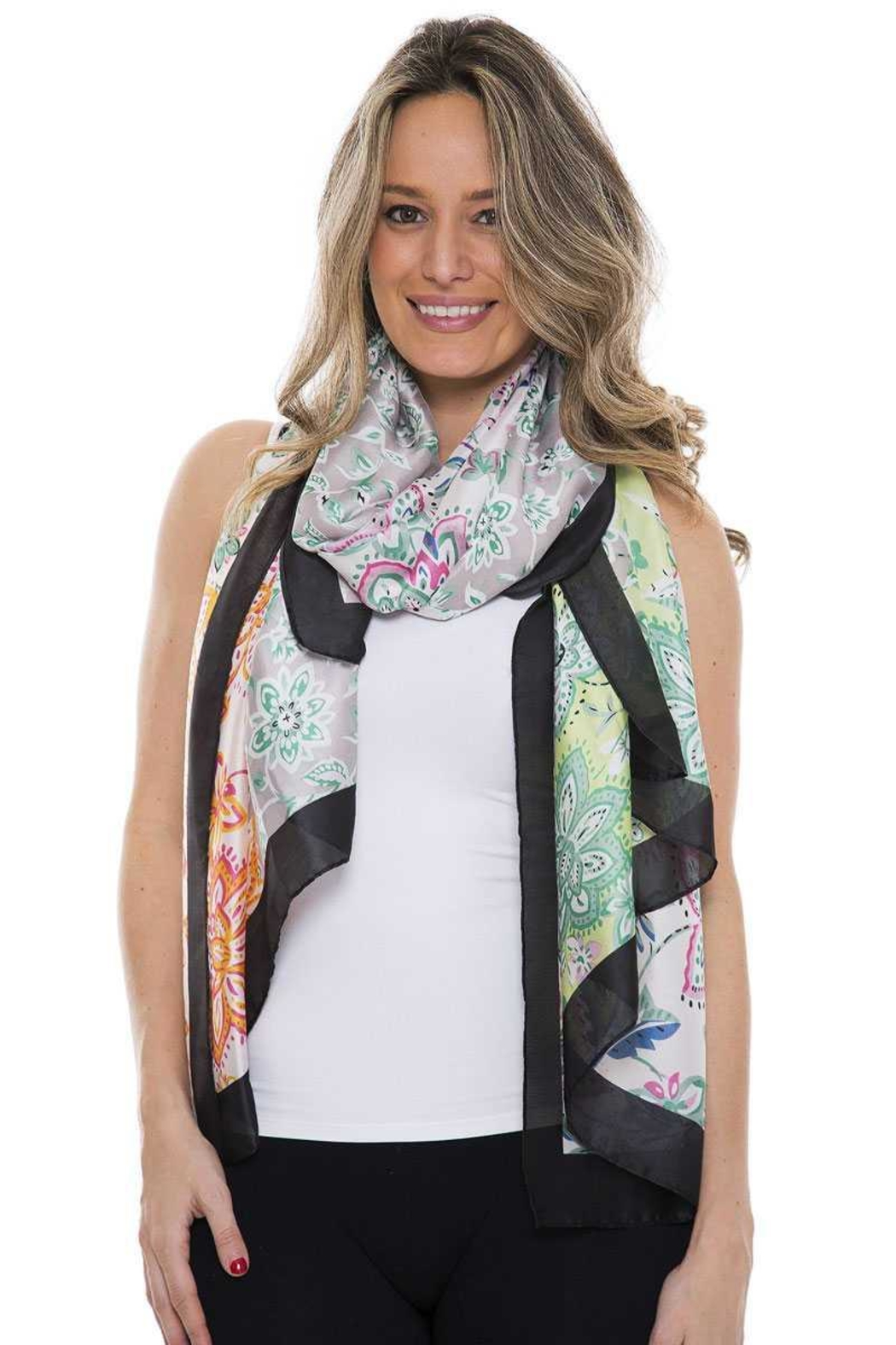 Nadya's Closet Silky Floral Oblong Scarf - Main Image