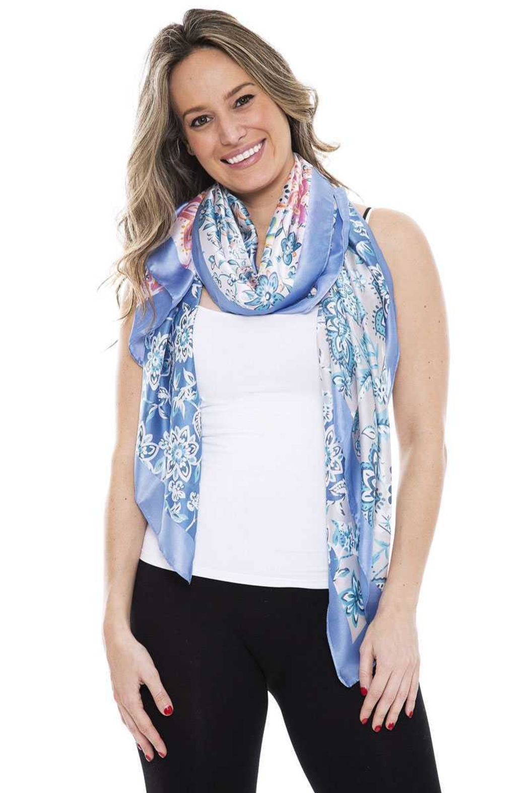 Nadya's Closet Silky Floral Oblong Scarf - Front Cropped Image