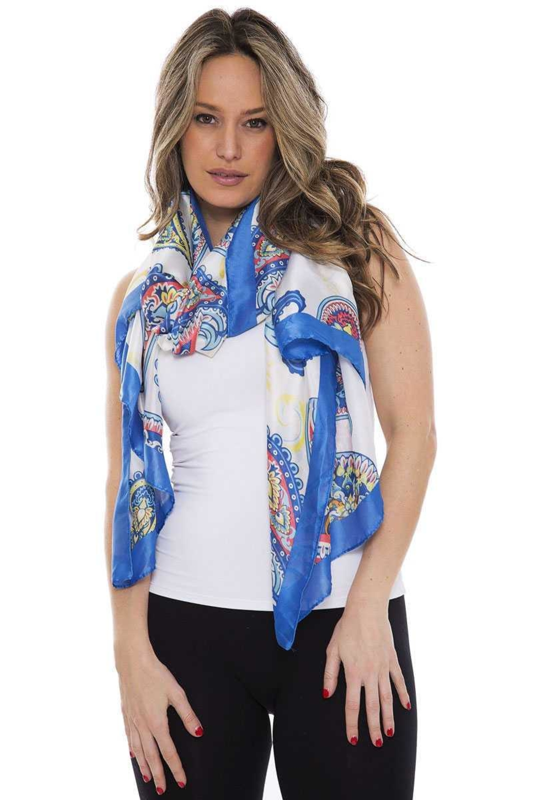 Nadya's Closet Silky Paisley Oblong Scarf - Front Cropped Image