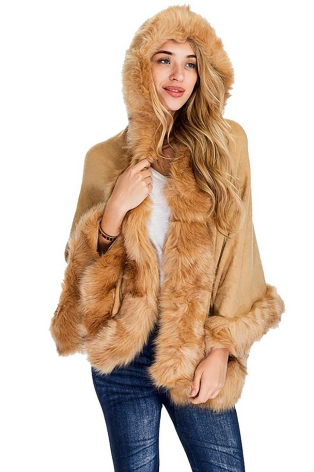 Nadya's Closet Solid Colored Trimmed Faux Fur Lined Open Silhouette Poncho - Main Image