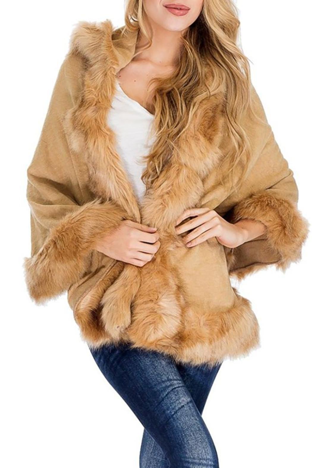 Nadya's Closet Solid Colored Trimmed Faux Fur Lined Open Silhouette Poncho - Side Cropped Image
