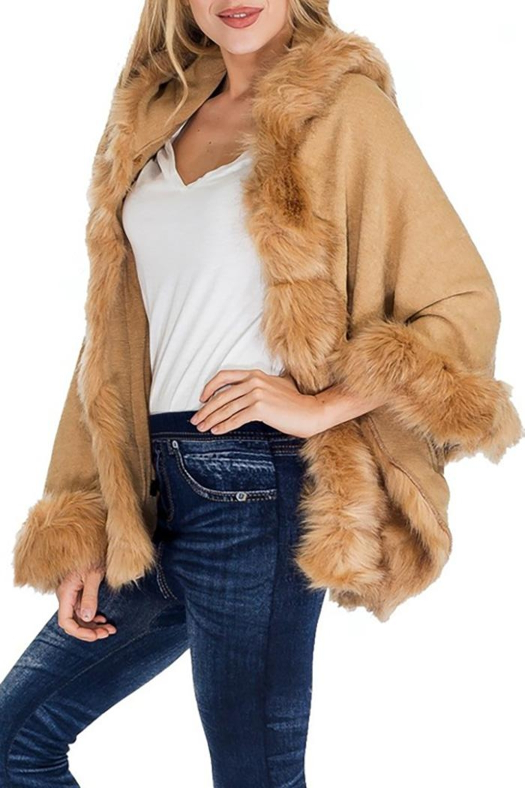 Nadya's Closet Solid Colored Trimmed Faux Fur Lined Open Silhouette Poncho - Back Cropped Image