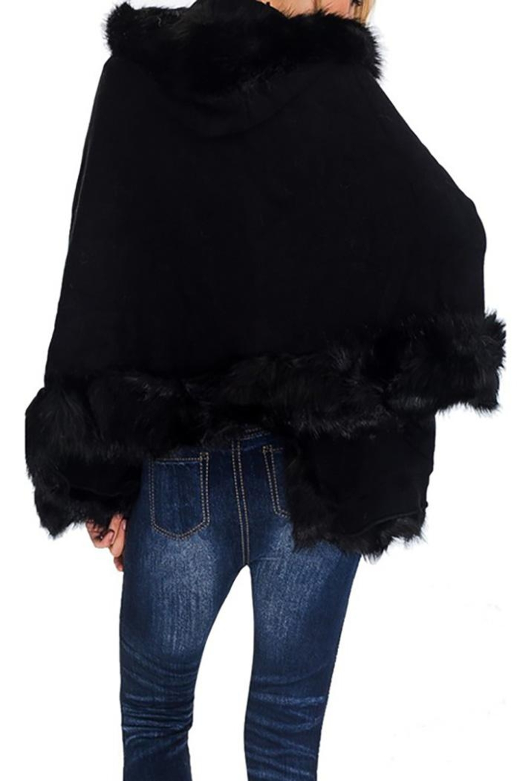 Nadya's Closet Solid Colored Trimmed Faux Fur Lined Open Silhouette Poncho - Front Full Image