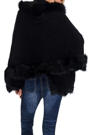Nadya's Closet Solid Colored Trimmed Faux Fur Lined Open Silhouette Poncho - Front full body
