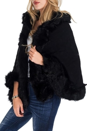 Nadya's Closet Solid Colored Trimmed Faux Fur Lined Open Silhouette Poncho - Front cropped