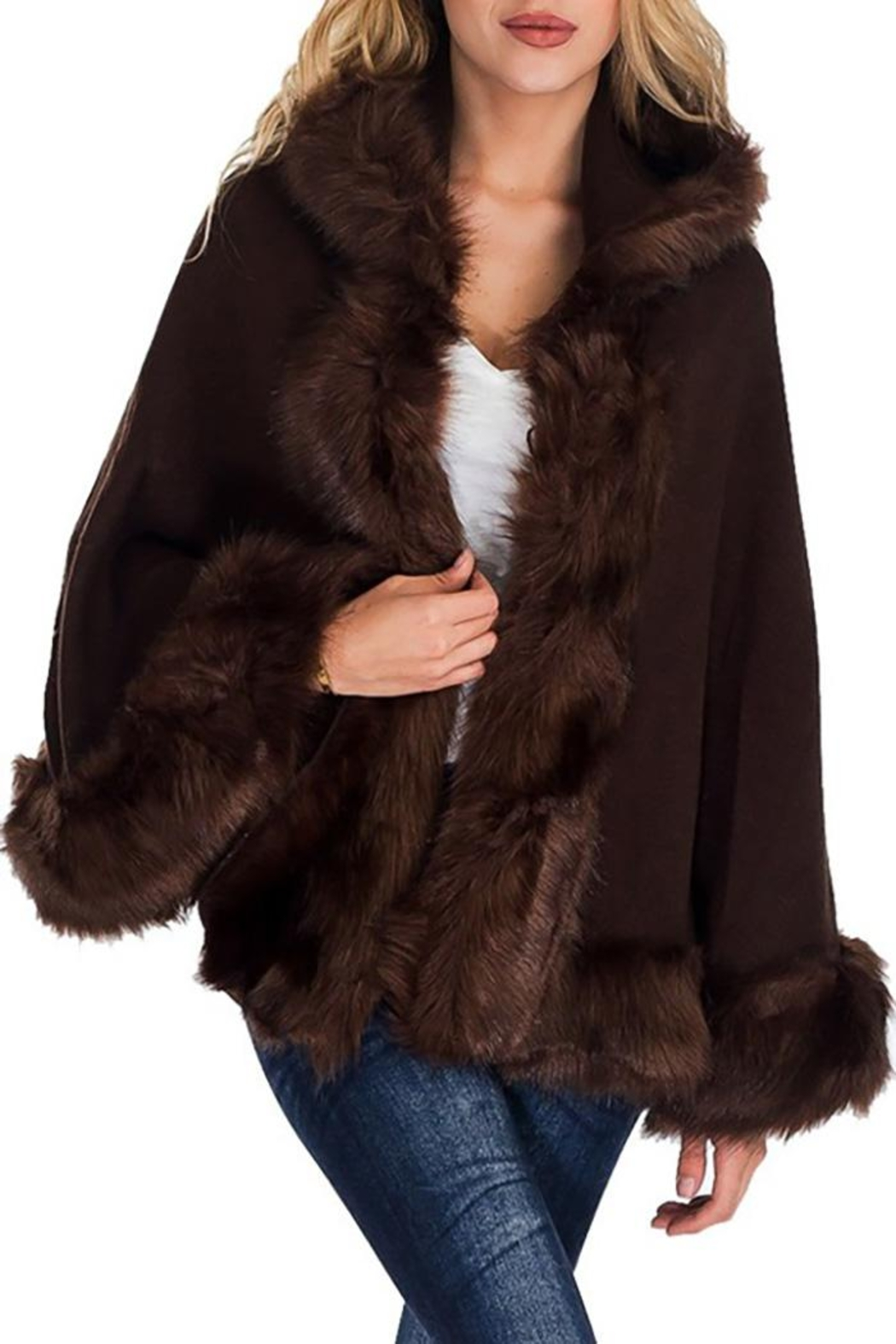 Nadya's Closet Solid Colored Trimmed Faux Fur Lined Open Silhouette Poncho - Front Cropped Image