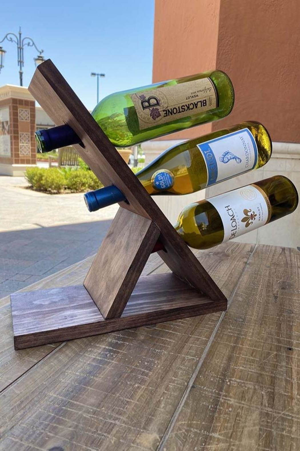 Nadya's Closet Solid Pine Wine Bottle Display - Front Full Image