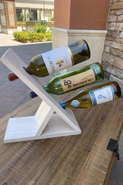 Nadya's Closet Solid Pine Wine Bottle Display - Front cropped