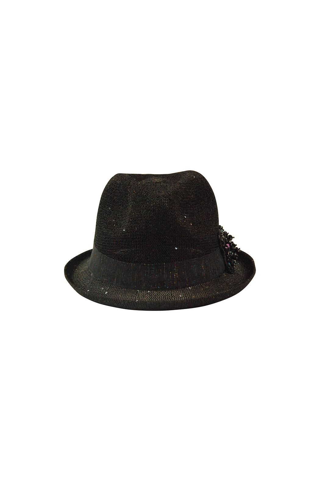 Nadya's Closet Sparkly Glitter Fedora Hat - Front Cropped Image