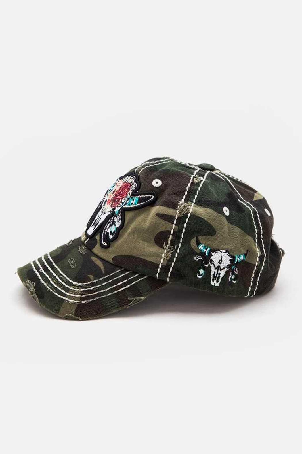 Nadya's Closet Steer Head Embroidered Vintage Cap - Side Cropped Image