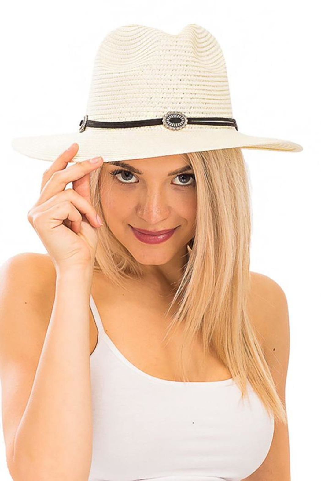 Nadya's Closet Suede Rope Panama-Hat - Front Cropped Image