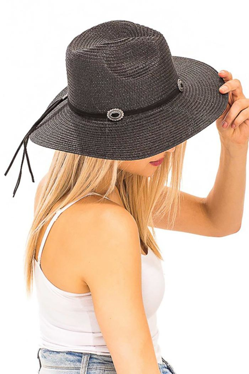 Nadya's Closet Suede Rope Panama-Hat - Front Full Image