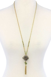 Nadya's Closet Tassel Drop Locket Necklace - Front cropped