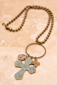 Shoptiques Product: Three Charms Cross Necklace