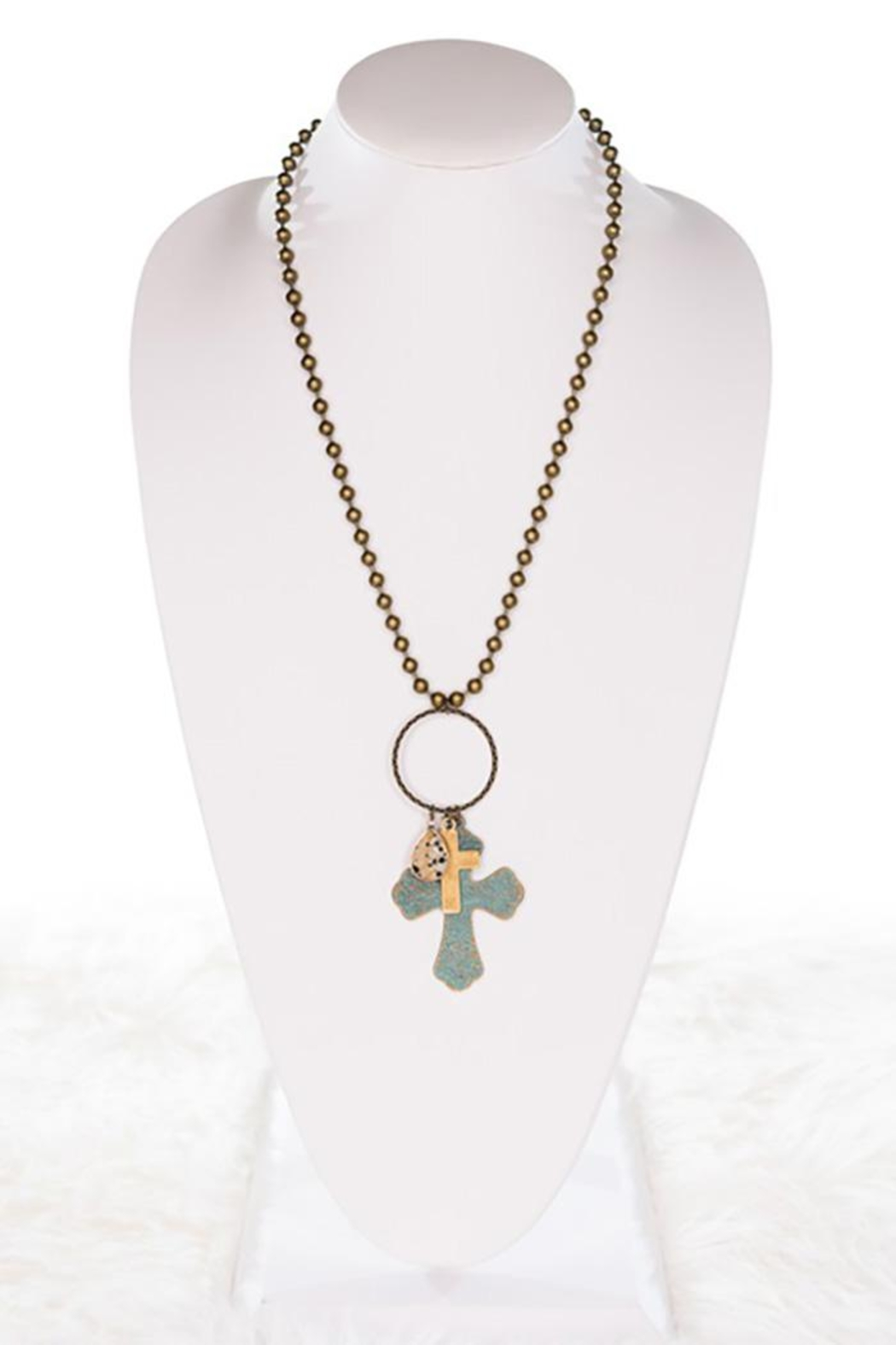 Nadya's Closet Three Charms Cross Necklace - Front Full Image