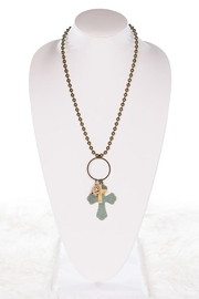 Nadya's Closet Three Charms Cross Necklace - Front full body