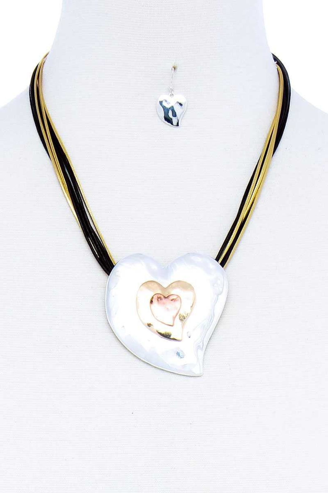 Nadya's Closet Triple Heart Necklace Set - Front Cropped Image