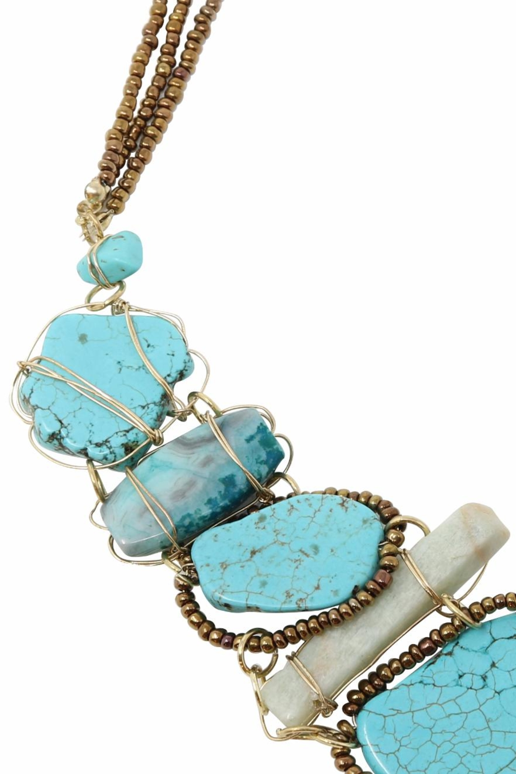 Nadya's Closet Turquoise Statement Necklace - Side Cropped Image