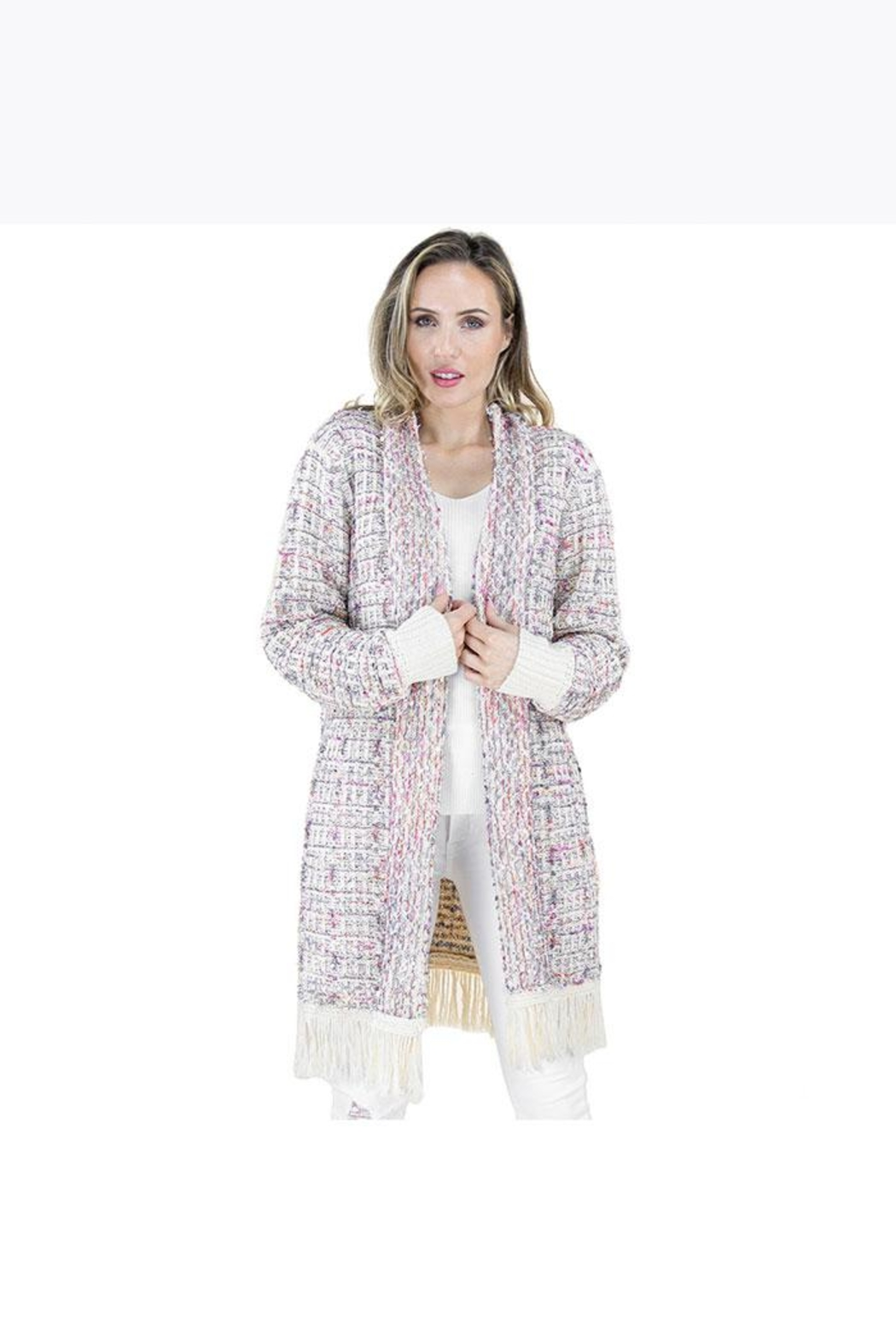 Nadya's Closet Tweed Pattern Long Sleeve Cardigan - Front Cropped Image