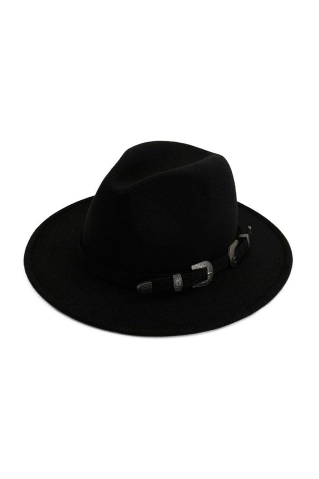 Nadya's Closet Two Buckle Black Belt Casual Panama Hat - Front Cropped Image