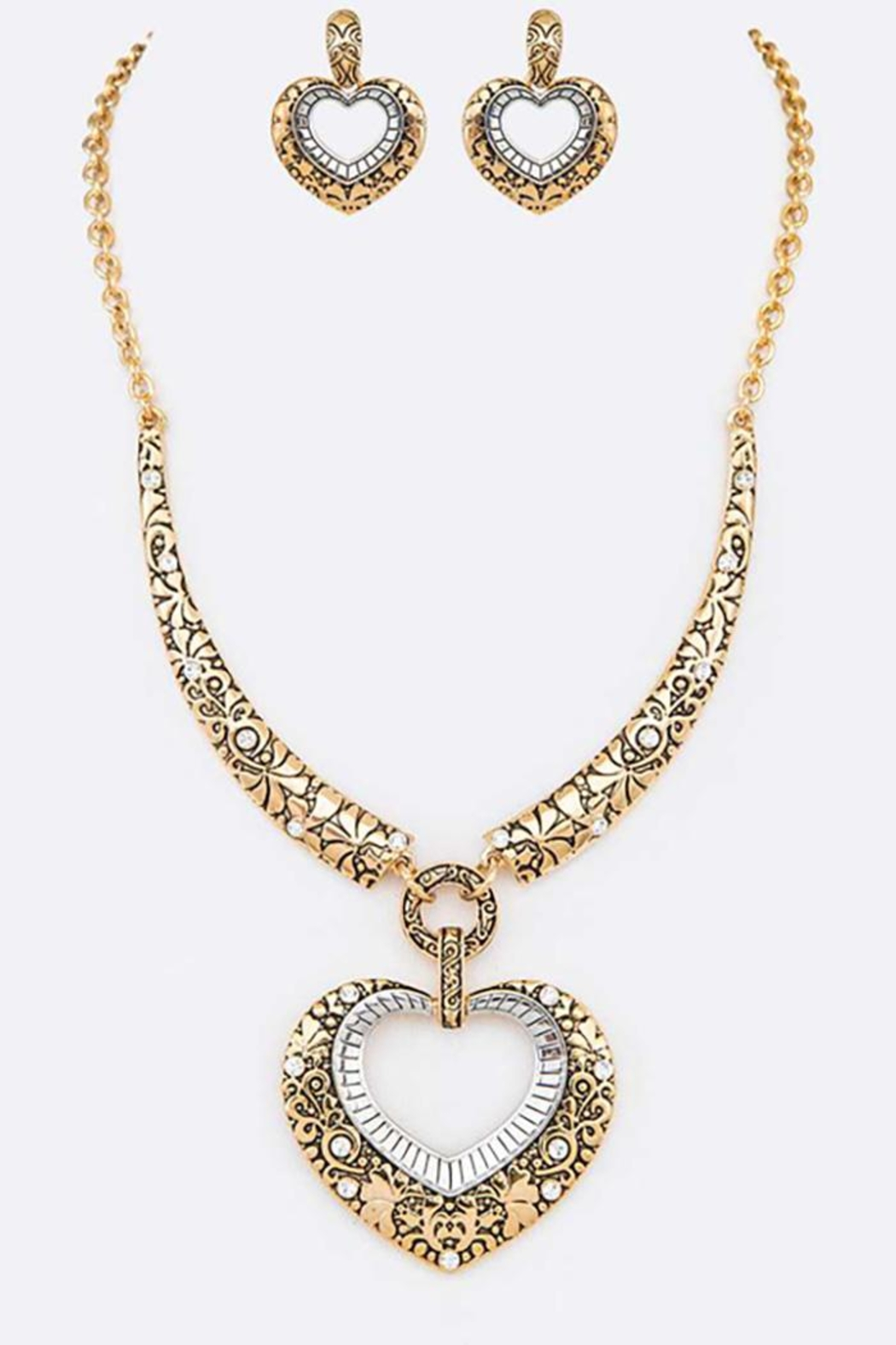 Nadya's Closet Two Tone Textured Heart Necklace Set - Main Image