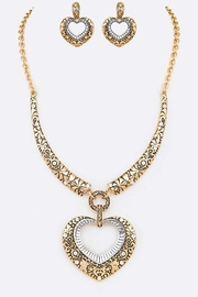 Nadya's Closet Two Tone Textured Heart Necklace Set - Front cropped