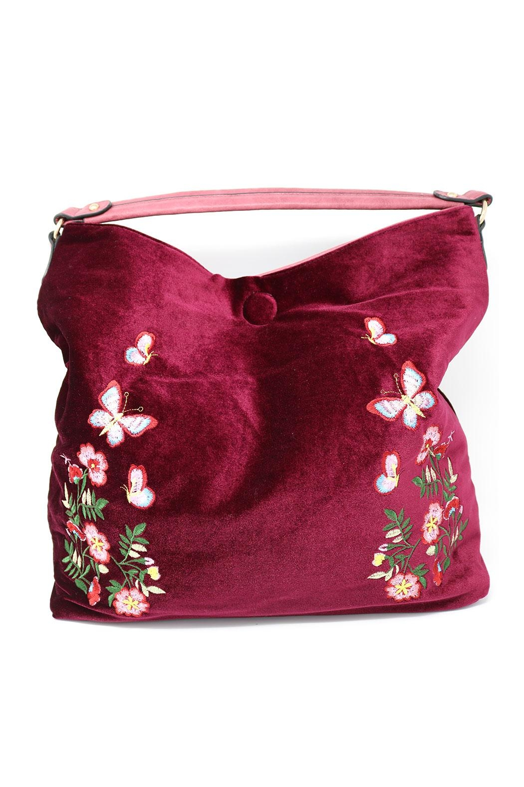 Nadya's Closet Velvet Floral Hobo - Side Cropped Image