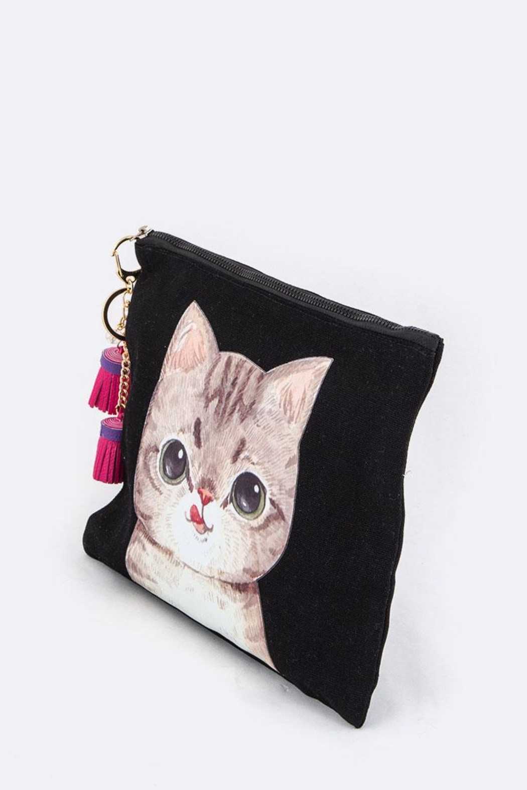 Nadya's Closet Watercolor Cat Tasseled-Pouch - Front Full Image