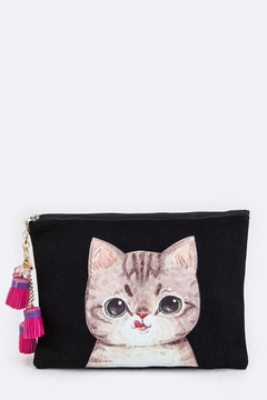 Nadya's Closet Watercolor Cat Tasseled-Pouch - Product List Image