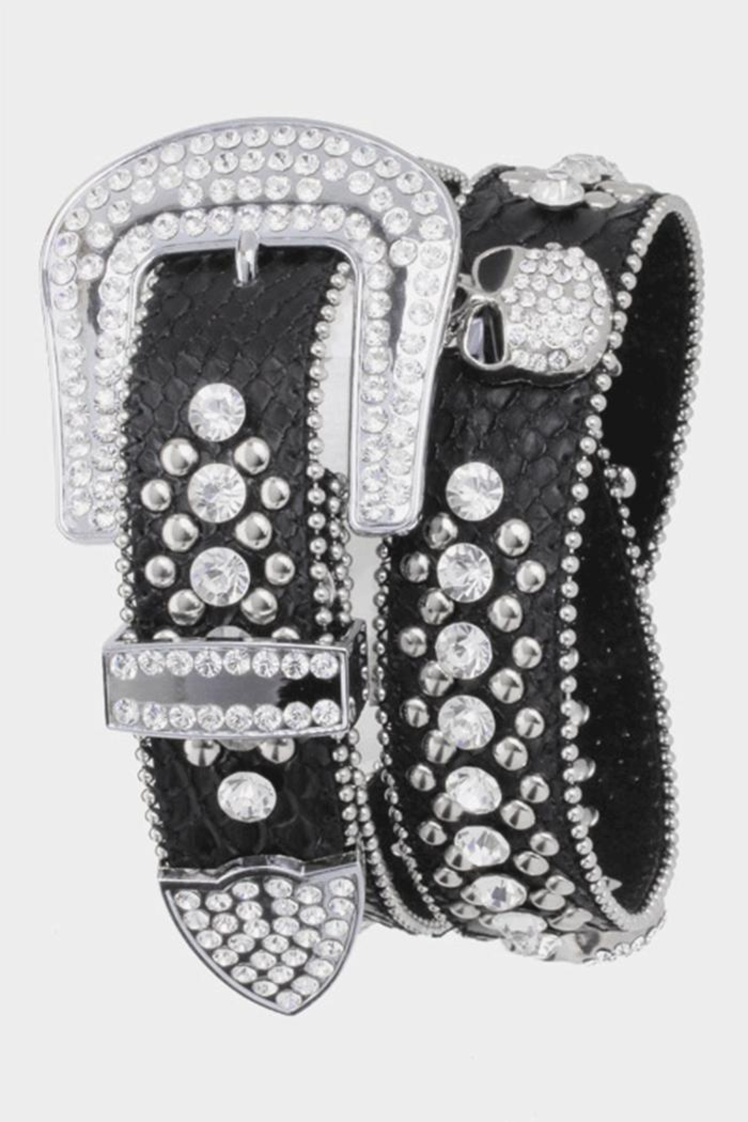 Nadya's Closet Western Cowgirl Bling Crystal Skull Belt - Main Image