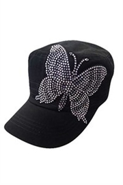 Nadya's Closet White Butterfly Rhinestone Cap - Front cropped