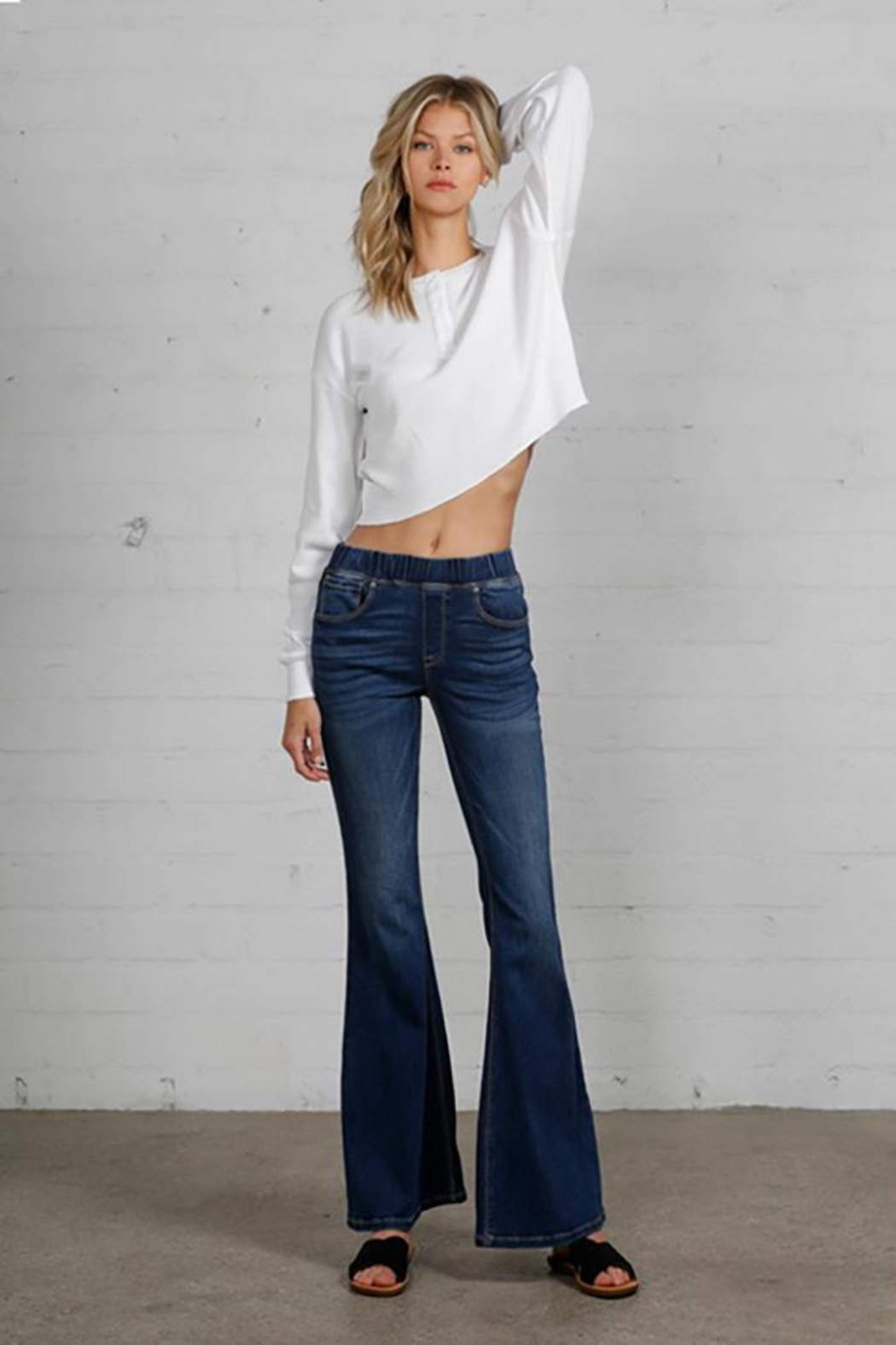 Nadya's Closet Wide Elastic Banded Flare Jeans - Main Image