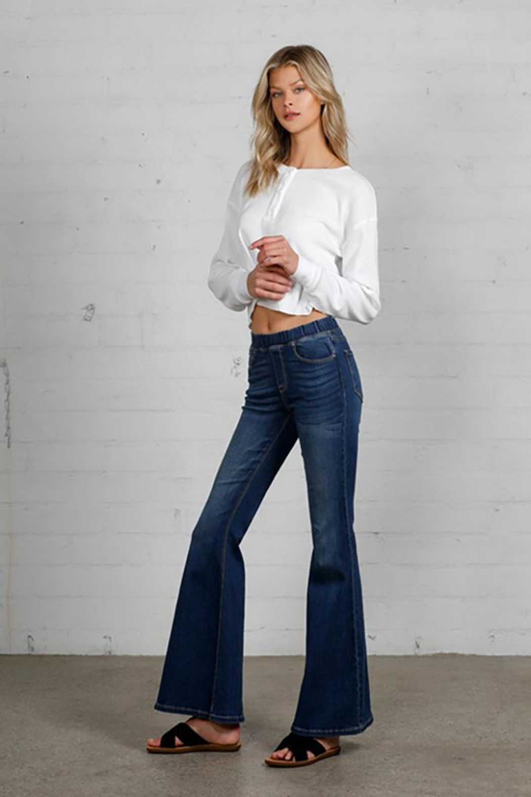 Nadya's Closet Wide Elastic Banded Flare Jeans - Side Cropped Image