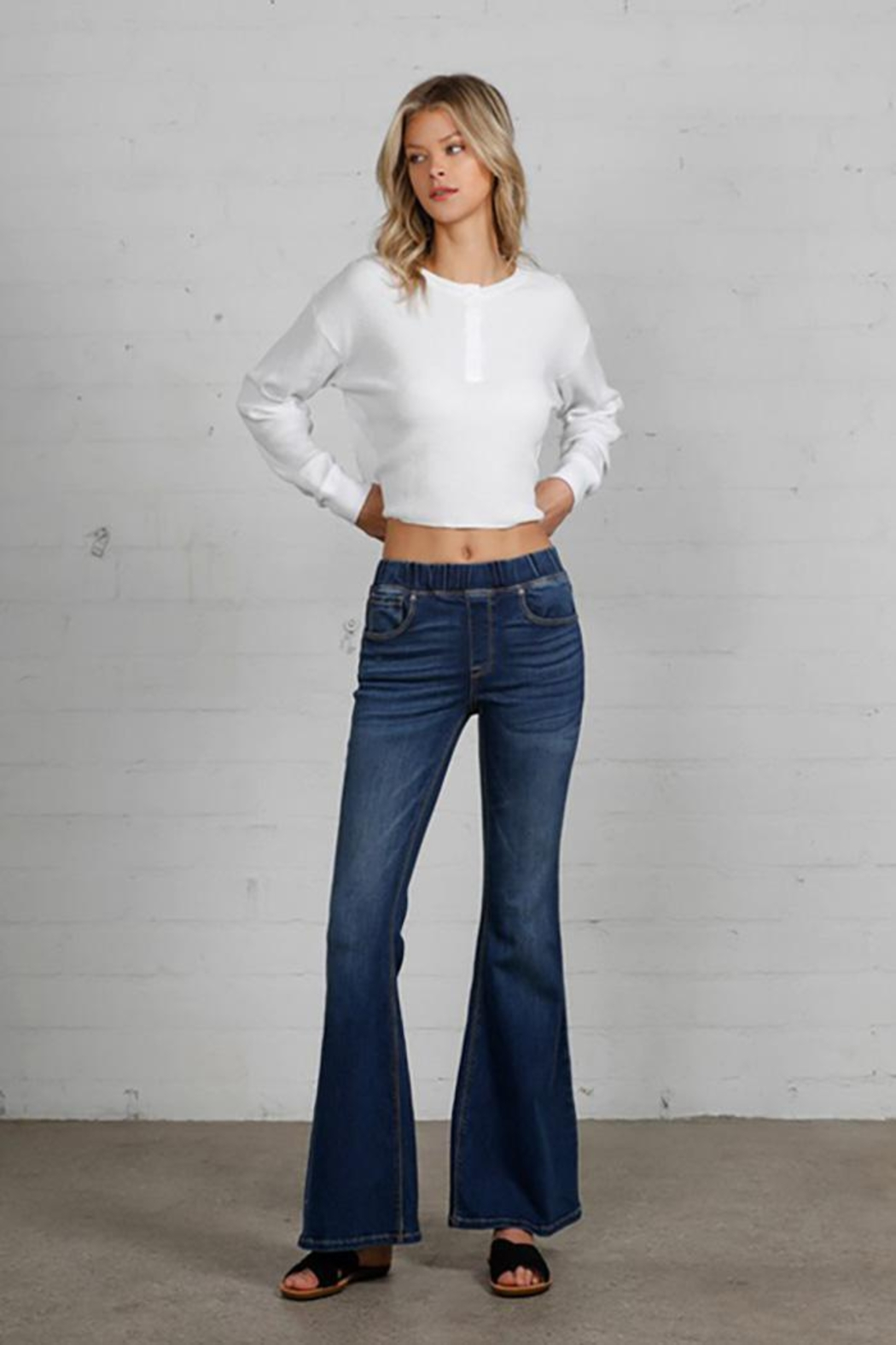 Nadya's Closet Wide Elastic Banded Flare Jeans - Back Cropped Image